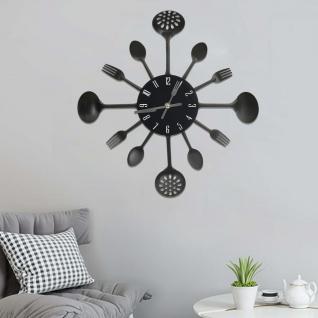 vidaXL Wanduhr mit Löffel und Gabel Design Schwarz 40 cm Aluminium
