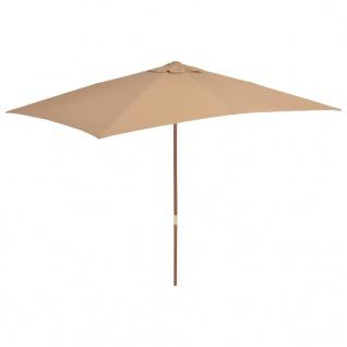 vidaXL Sonnenschirm mit Holz-Mast 200×300 cm Taupe