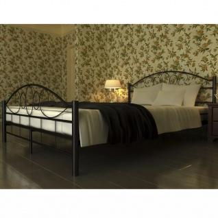 vidaXL Bett mit Matratze Schwarz Metall 140×200 cm