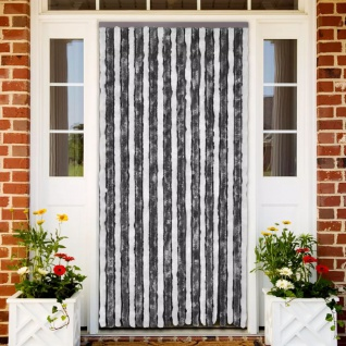 vidaXL Insektenschutz-Vorhang Grau und Weiß 90x220 cm Chenille