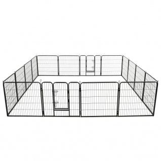 vidaXL Hunde-Laufstall 16 Panels Stahl 80x80 cm Schwarz