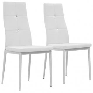 vidaXL Esszimmerstühle 2 Stk. Weiß Kunstleder