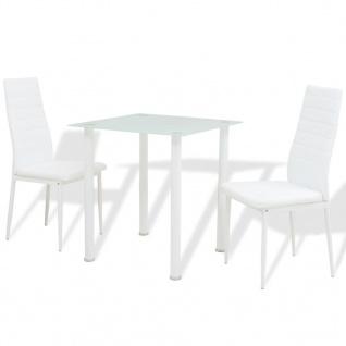 vidaXL 3-tlg. Essgruppe Esstisch mit Stühlen Weiß