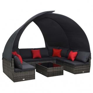 vidaXL 9-tlg. Garten-Lounge-Set mit Sonnendach Poly Rattan Anthrazit