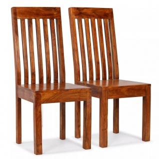 vidaXL Esszimmerstühle 2 Stk. Massivholz mit Sheesham Finish Modern
