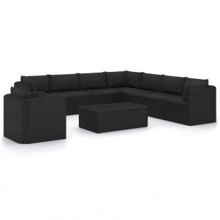 vidaXL 10-tlg. Garten-Lounge-Set mit Kissen Poly Rattan Schwarz