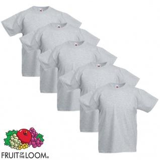 Fruit of the Loom Kinder-T-Shirt Original 5 Stk. Grau Größe 164