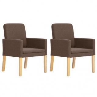 vidaXL Esszimmerstühle 2 Stk. Braun Stoff - Vorschau 1