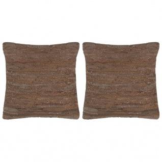 vidaXL Kissen 2 Stk. Chindi Braun 45 x 45 cm Leder und Baumwolle