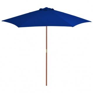 vidaXL Sonnenschirm mit Holzmast Blau 270 cm