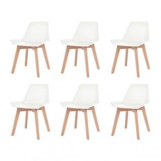 vidaXL Esszimmerstühle 6 Stk. Weiß Kunststoffsitz Buchenholzbeine