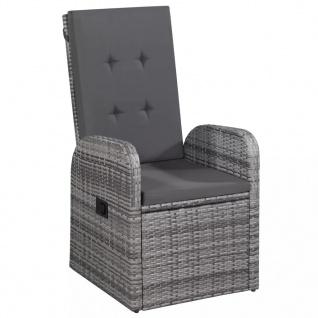 vidaXL Gartenstühle 2 Stk. mit Polstern Poly Rattan Grau