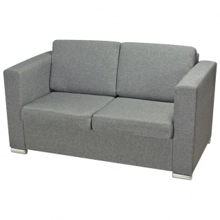 vidaXL 2-Sitzer Sofa Stoff Hellgrau - Vorschau 3