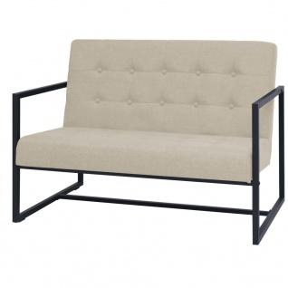 vidaXL 2-Sitzer-Sofa mit Armlehnen Stahl und Stoff Cremeweiß