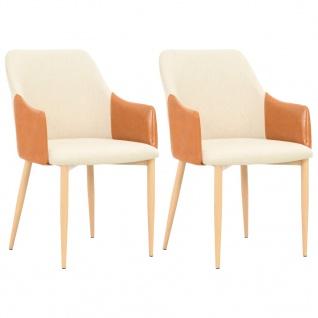 vidaXL Esszimmerstühle 2 Stk. Stoff 55x56x86 cm Braun und Cremeweiß