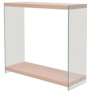 vidaXL Konsolentisch mit Regal Glas MDF Eichenoptik