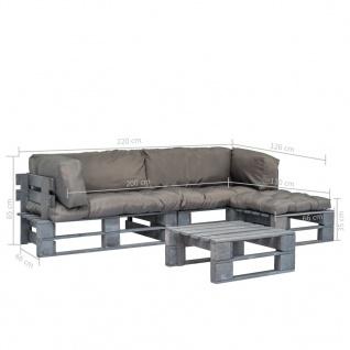 vidaXL 4-tlg. Garten-Lounge-Set Paletten Graue Auflagen Holz - Vorschau 5