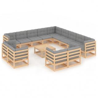 vidaXL 14-tlg. Garten-Lounge-Set mit Kissen Massivholz Kiefer
