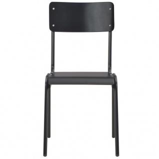 vidaXL Esszimmerstühle 4 Stk. Schwarz Massives Sperrholz Stahl - Vorschau 2