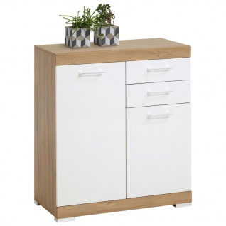 FMD Kommode mit 2 Türen & 2 Schubladen 80x34, 9x89, 9cm Weiß/Eichenbraun