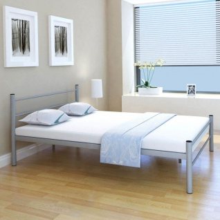 vidaXL Bett mit Memory-Schaum-Matratze Grau Metall 140x200 cm