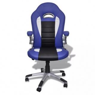 Bürosessel Bürostuhl Drehstuhl Chefsessel Kunstleder Office Blau - Vorschau 2