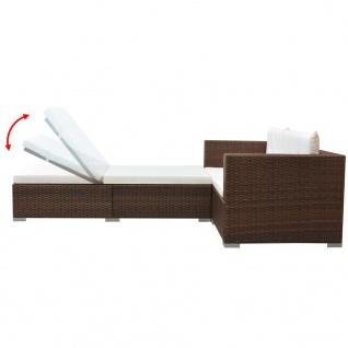 vidaXL 3-tlg. Garten-Lounge-Set mit Auflagen Poly Rattan Braun - Vorschau 4