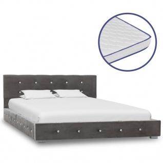 vidaXL Bett mit Memory-Schaum-Matratze Grau Samt 120×200cm