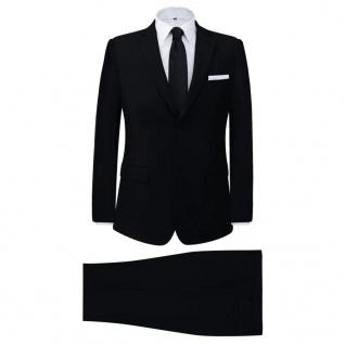 vidaXL 2-tlg. Business-Anzug für Herren Schwarz Gr. 48