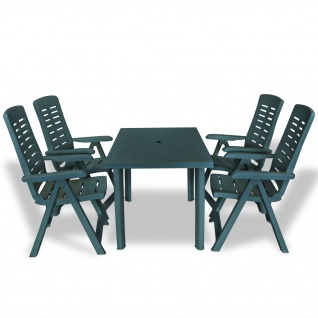 vidaXL 5-tlg. Garten-Essgruppe Kunststoff Grün