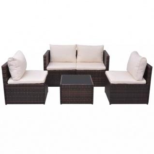 vidaXL 5-tlg. Garten-Lounge-Set mit Auflagen Poly Rattan Braun - Vorschau 2