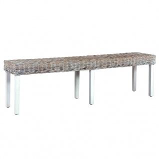 vidaXL Sitzbank 160 cm Weiß Natur Kubu-Rattan und Massivholz Mango