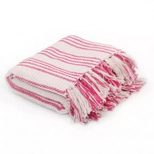 vidaXL Überwurf Baumwolle Streifen 220 x 250 cm Rosa und Weiss