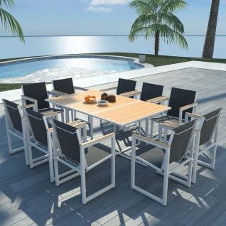 vidaXL 11-tlg. Garten-Essgruppe mit WPC-Tischplatte Aluminium