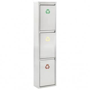 vidaXL Recycling Abfalleimer Silbern Edelstahl 24 L