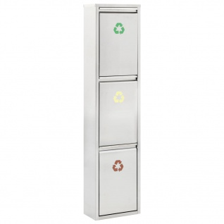 vidaXL Recycling-Mülleimer Silbern Edelstahl 3 x 8 L