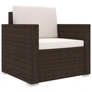 vidaXL 11-tlg. Garten-Lounge-Set mit Auflagen Poly Rattan Braun - Vorschau 4