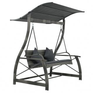 vidaXL Garten-Hollywoodschaukel Poly Rattan Grau 167×130×178 cm