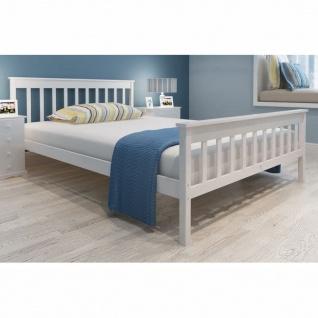 vidaXL Bett mit Matratze 140×200 cm Massives Kiefernholz Weiß