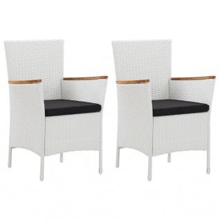 vidaXL Gartenstühle 2 Stk. Weiß Poly Rattan