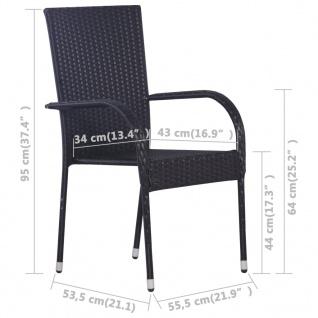 vidaXL Stapelbare Gartenstühle 6 Stk. Poly Rattan Schwarz - Vorschau 5
