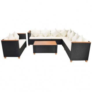 vidaXL 6-tlg. Garten-Lounge-Set mit Auflagen Poly Rattan Schwarz - Vorschau 2