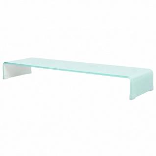 vidaXL TV-Tisch/Bildschirmerhöhung Glas Weiß 100 x 30 x 13 cm