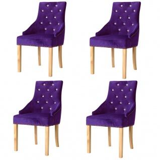 vidaXL Esszimmerstühle 4 Stk. Massive Eiche und Samt Lila - Vorschau 1