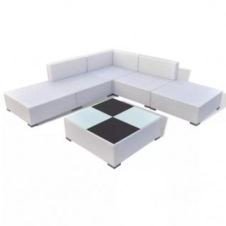 vidaXL 6-tlg. Garten-Lounge-Set mit Auflagen Poly Rattan Weiß - Vorschau 3