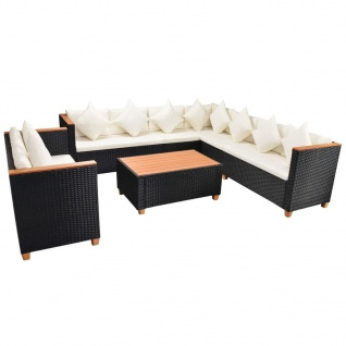 vidaXL 6-tlg. Garten-Lounge-Set mit Auflagen Poly Rattan Schwarz - Vorschau 4