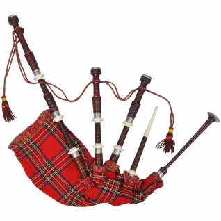 Schottischer Dudelsack Highland Bagpipe Sackpfeife Steward Tartan Rot - Vorschau 1