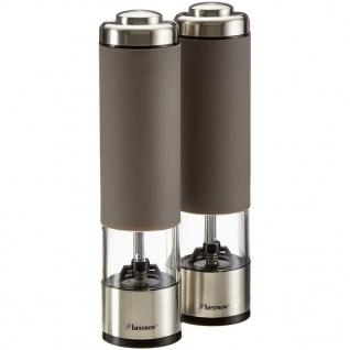 Bestron Elektrische Salz- und Pfeffermühlen Set Taupe APS526T