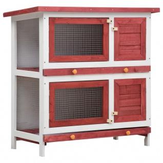 vidaXL Kaninchenstall 4 Türen Rot Holz