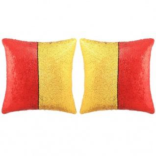 vidaXL Kissen-Set mit Pailletten 2 Stk. 45 x 45 cm Rot und Golden